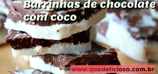 Barrinhas de chocolate com coco